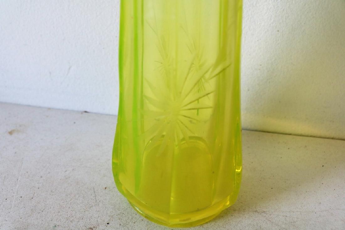 Vaseline Glass Vase - 4