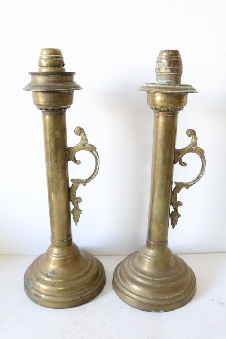 Pair Antique Brass oil Lamp Candle Sticks