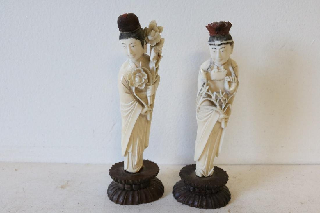 Pair Hand Carved Asian Figures