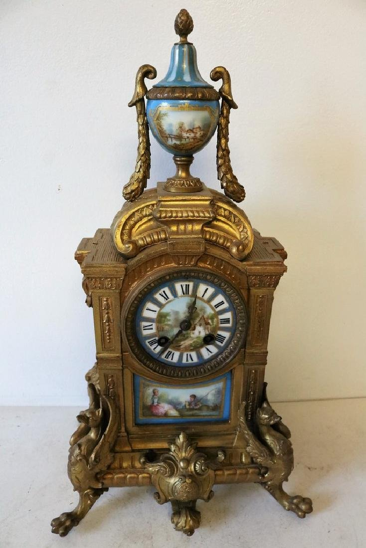 French Mantel Clock, hand painted porcelian