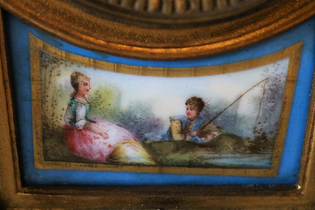 French Mantel Clock, hand painted porcelian - 3