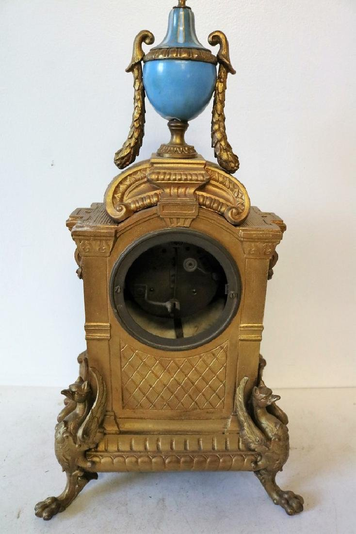 French Mantel Clock, hand painted porcelian - 8