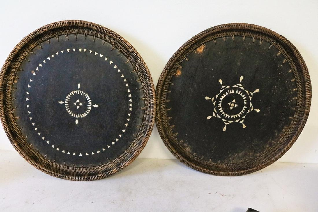 Pr Mother of Pearl Inlay Wood and Wicker Trays