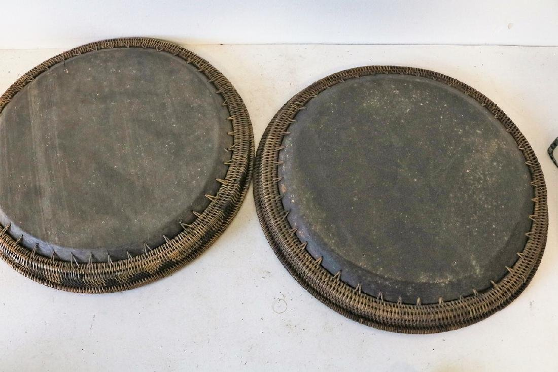 Pr Mother of Pearl Inlay Wood and Wicker Trays - 4
