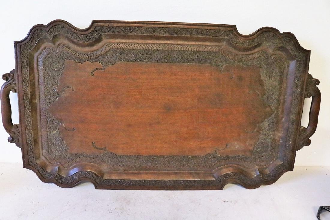 Victorian Hand Carved Wood double Handle Tray