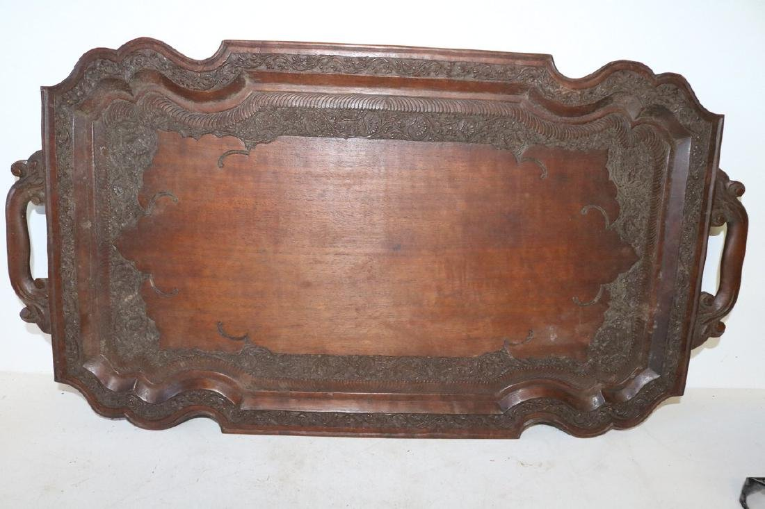 Victorian Hand Carved Wood double Handle Tray - 2