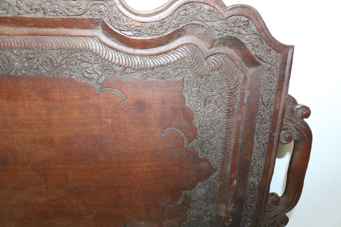 Victorian Hand Carved Wood double Handle Tray - 3
