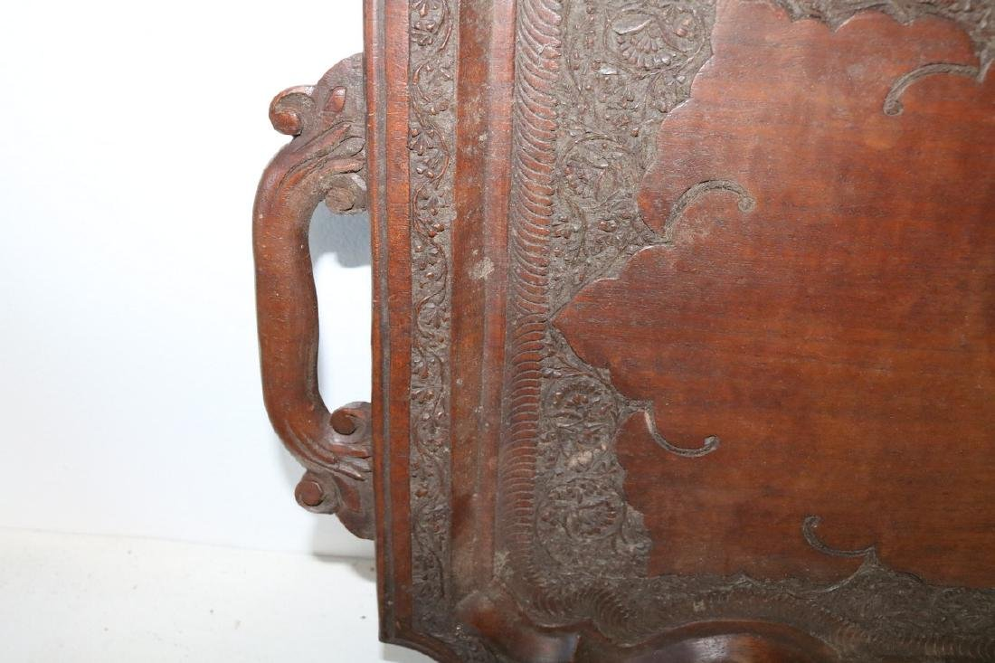 Victorian Hand Carved Wood double Handle Tray - 4