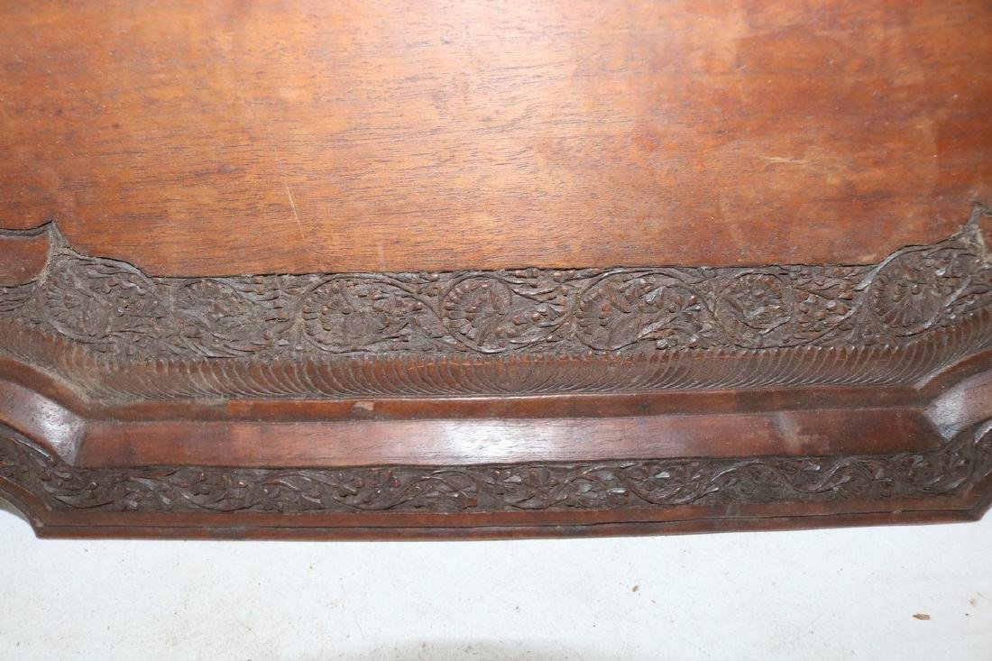 Victorian Hand Carved Wood double Handle Tray - 5