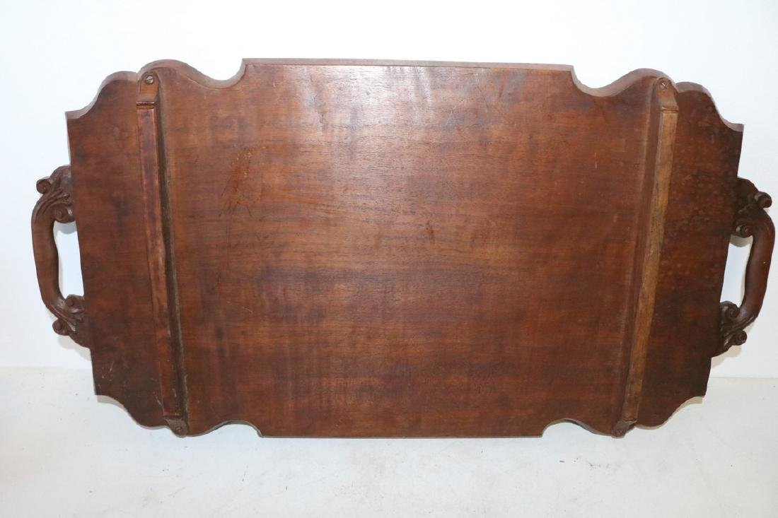 Victorian Hand Carved Wood double Handle Tray - 6