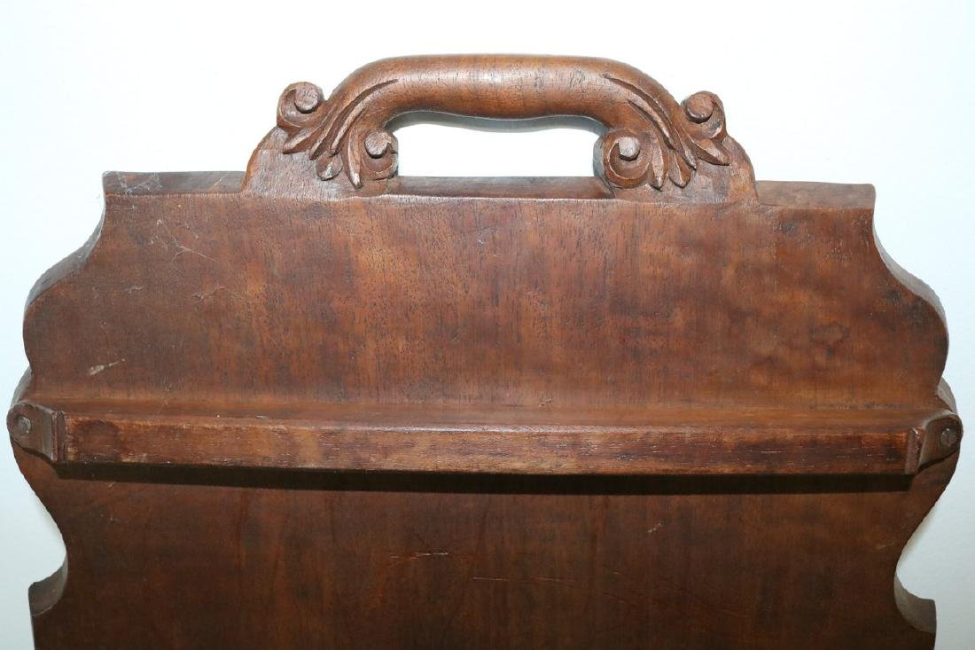 Victorian Hand Carved Wood double Handle Tray - 7