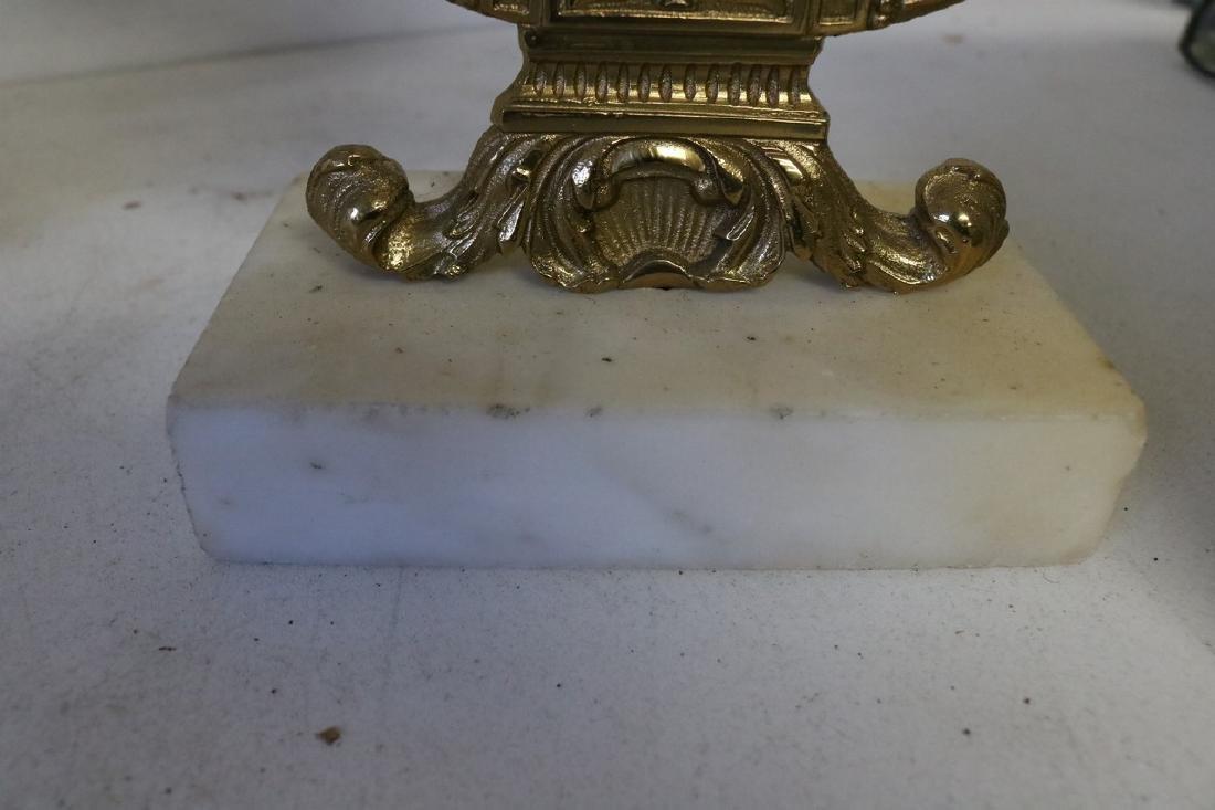 Set Antique Girandole Brass & Crystal Candlelabras - 10