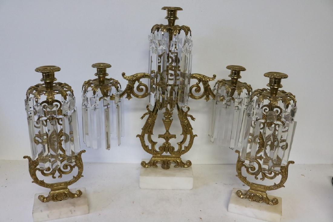 Set Antique Girandole Brass & Crystal Candlelabras