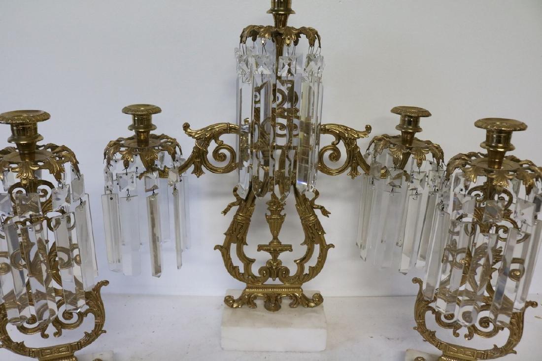 Set Antique Girandole Brass & Crystal Candlelabras - 2