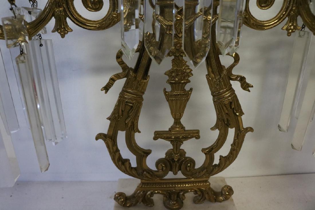 Set Antique Girandole Brass & Crystal Candlelabras - 3