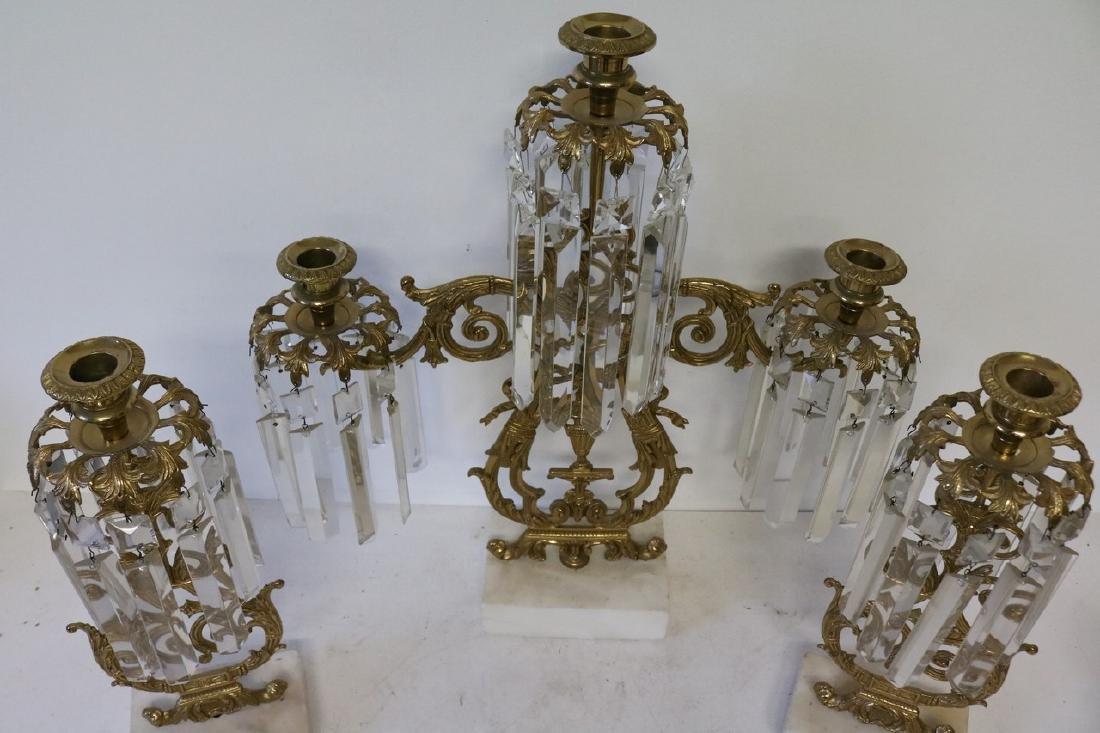 Set Antique Girandole Brass & Crystal Candlelabras - 4