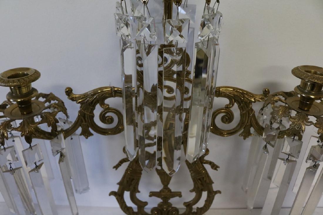 Set Antique Girandole Brass & Crystal Candlelabras - 5