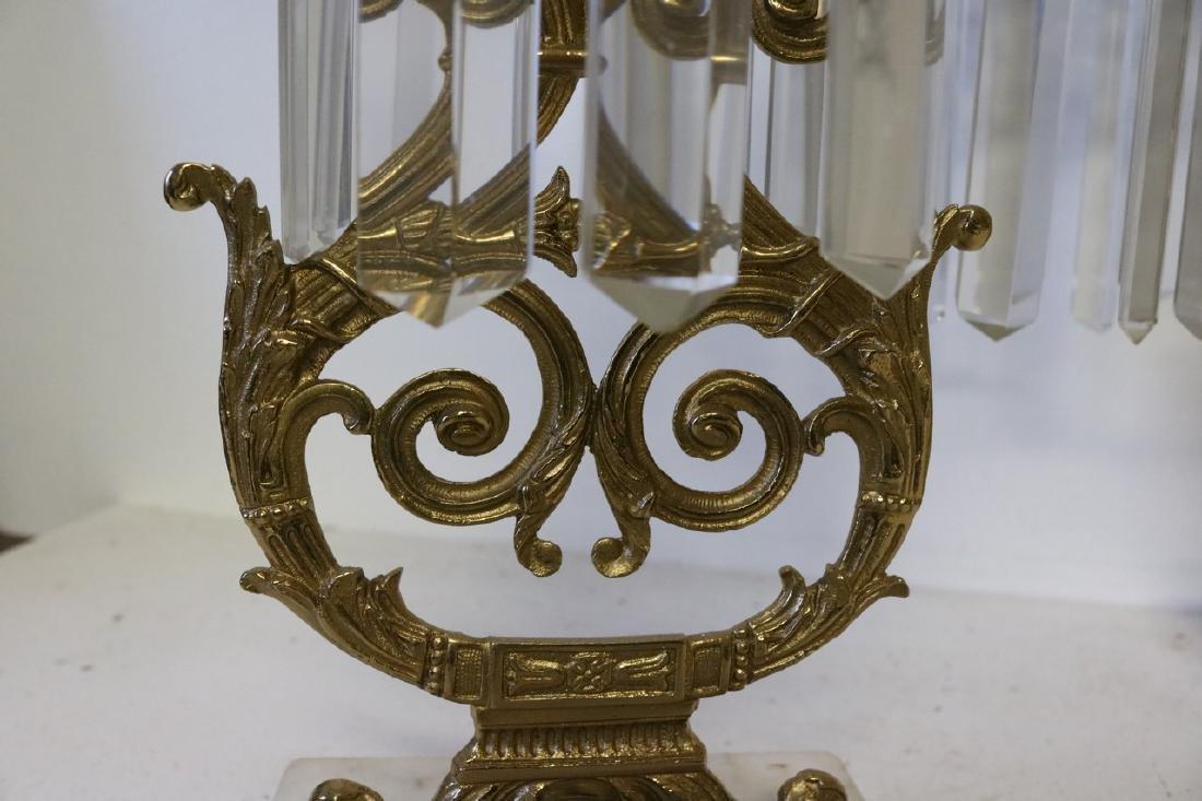 Set Antique Girandole Brass & Crystal Candlelabras - 7