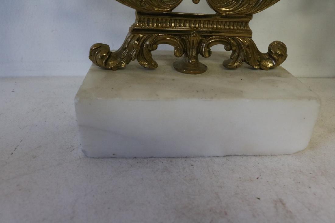 Set Antique Girandole Brass & Crystal Candlelabras - 8