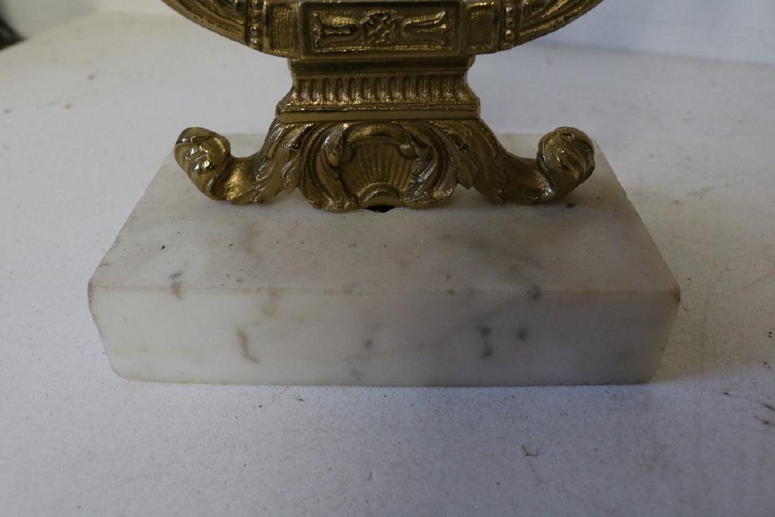 Set Antique Girandole Brass & Crystal Candlelabras - 9