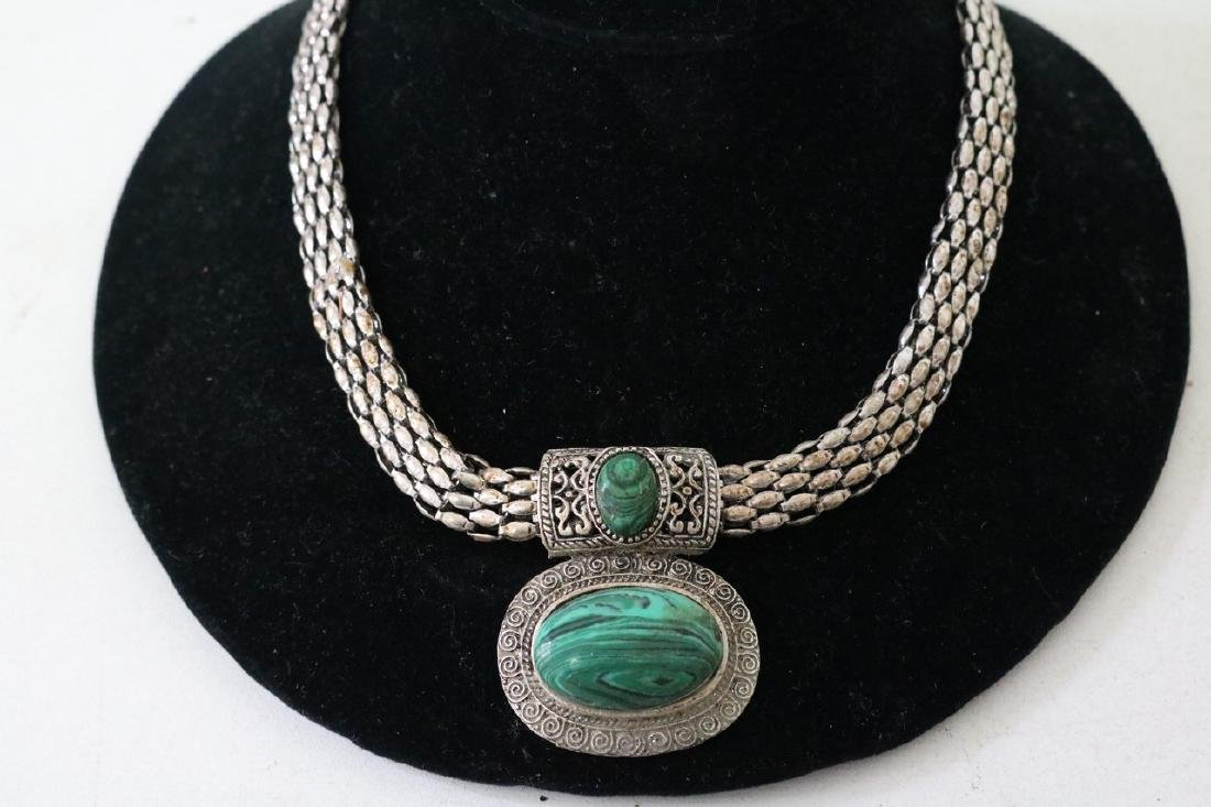Vintage Asian Silvertone Necklace w/Green stone Pendant