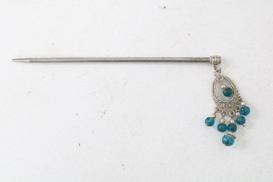 Vintage Asian Silver Hairpin w/ blue beads