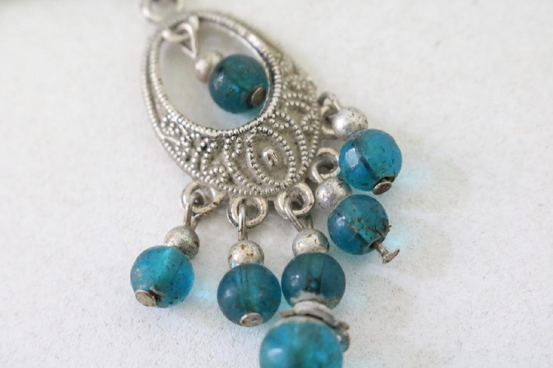 Vintage Asian Silver Hairpin w/ blue beads - 2
