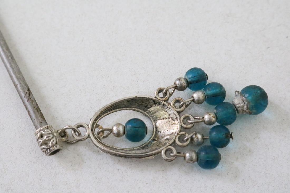 Vintage Asian Silver Hairpin w/ blue beads - 4