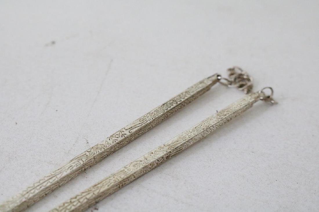 Pair of Vinage Asian Silver Chopsticks - 3