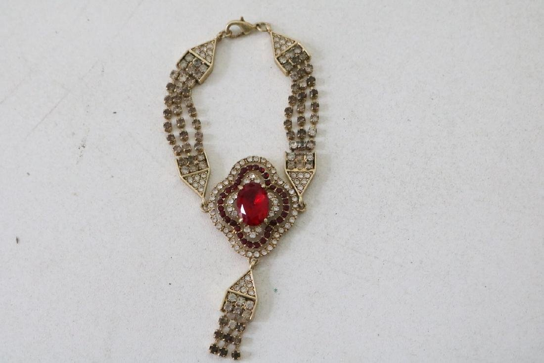 Vintage Asian Red Bracelet with Red Stone Pendant