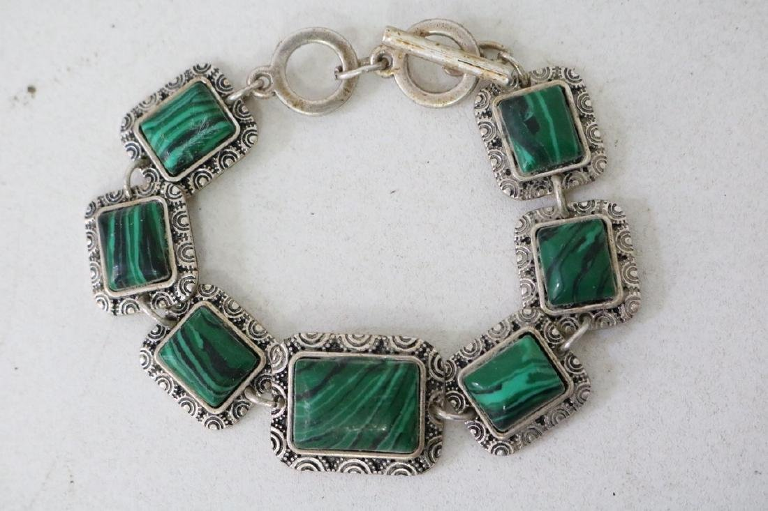 Vintage Asian Silver and Green Stone Bracelet