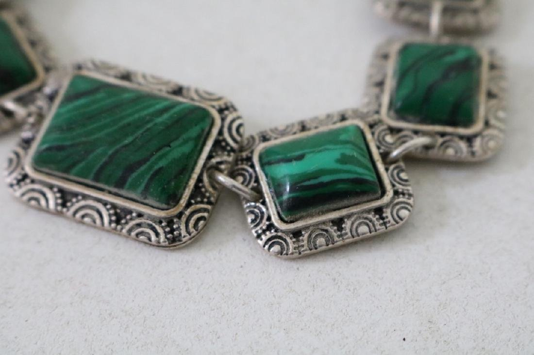 Vintage Asian Silver and Green Stone Bracelet - 2