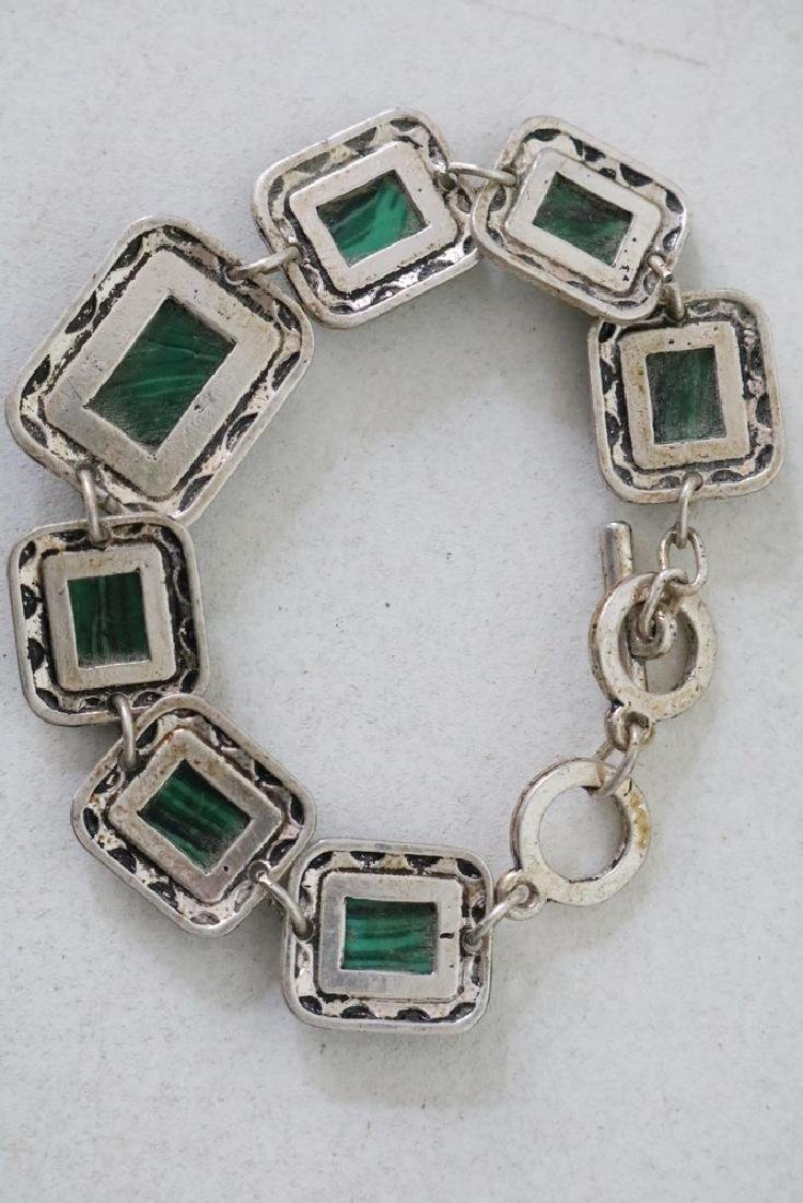 Vintage Asian Silver and Green Stone Bracelet - 3