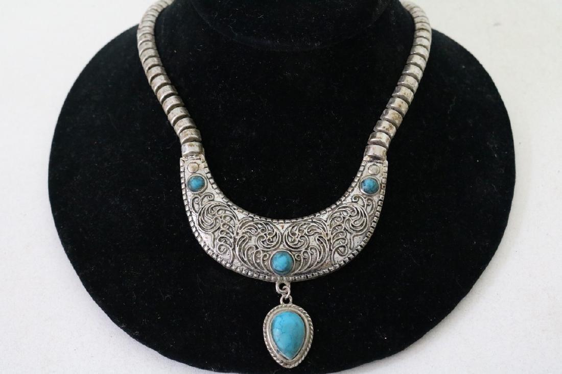 Vintage Asian Silvertone Necklace w/Blue Stones