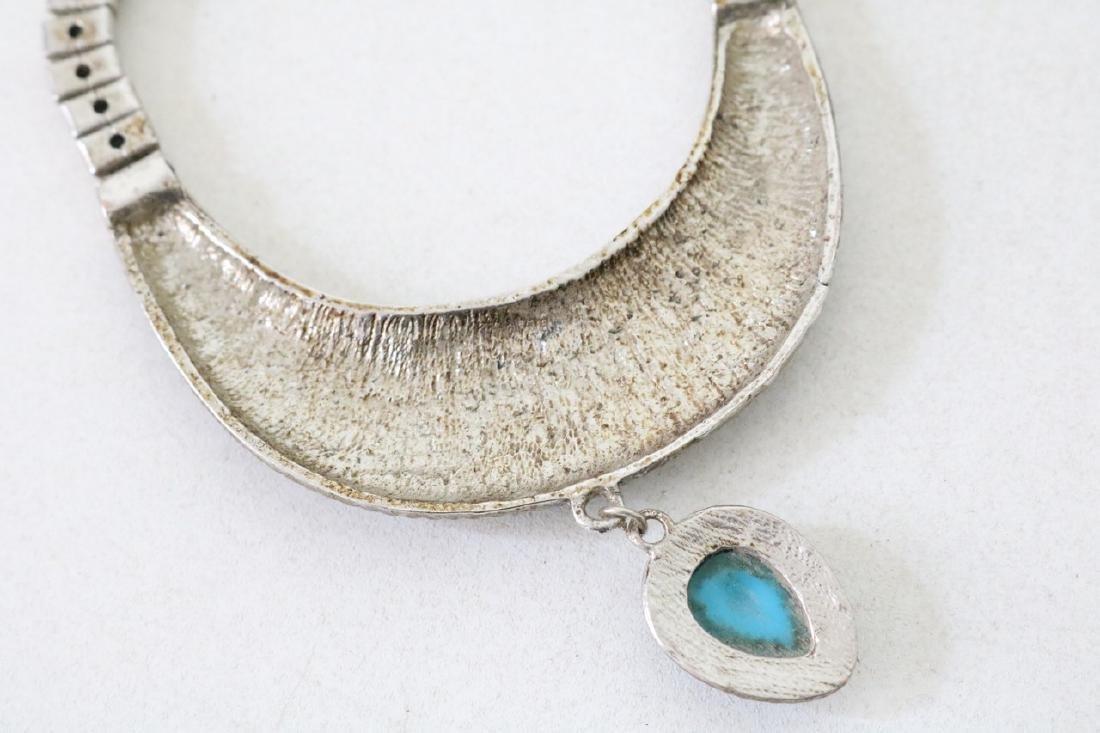 Vintage Asian Silvertone Necklace w/Blue Stones - 4
