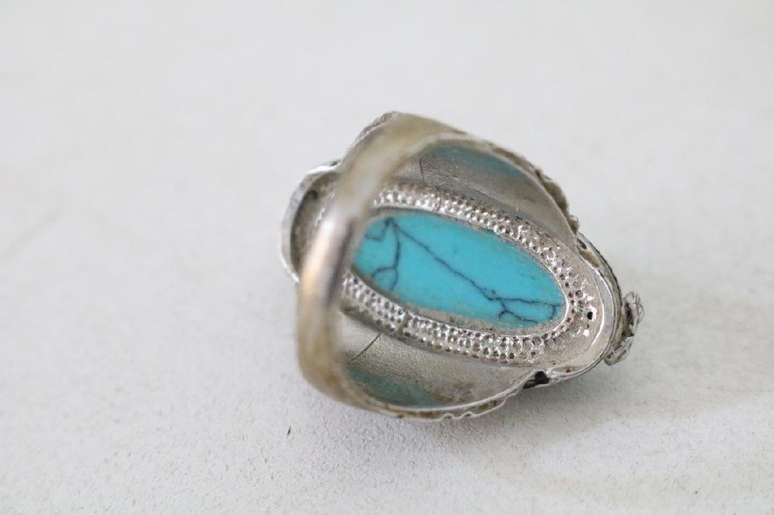 Vintage Asian Silver and Turquoise Ring - 3