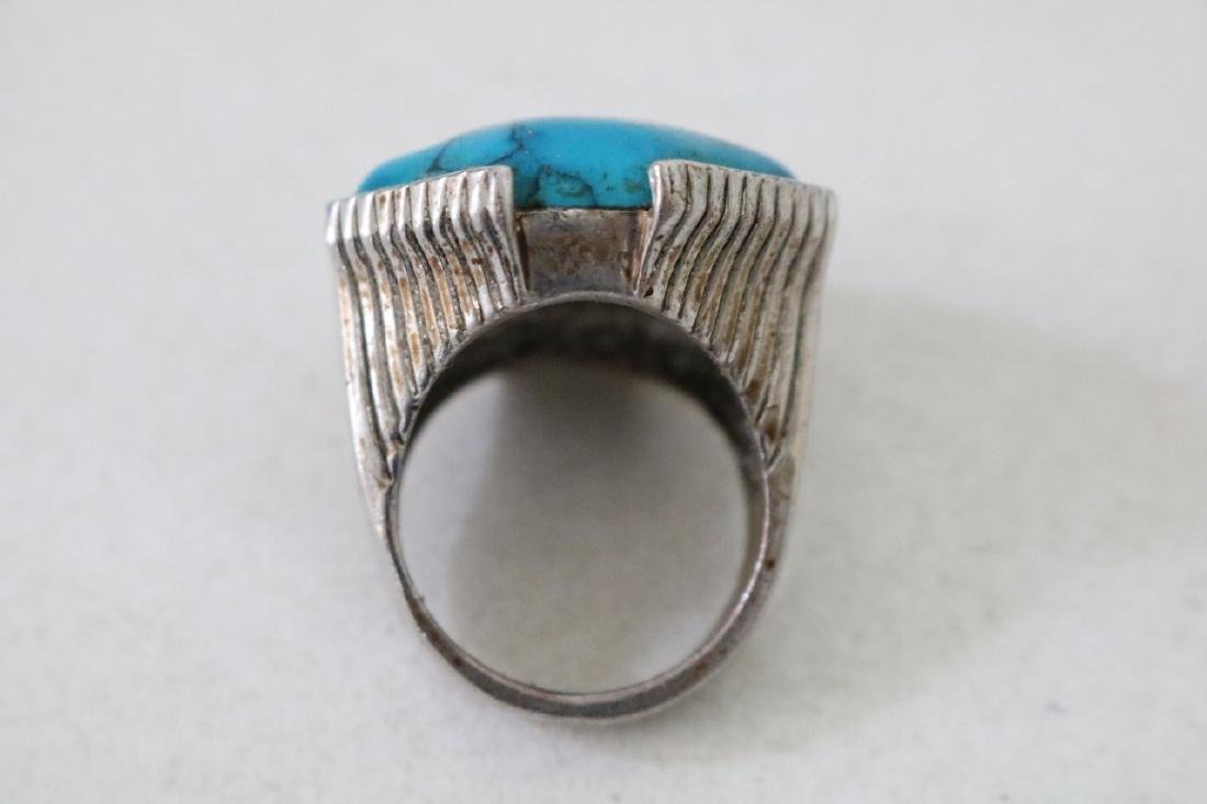 Vintage Asian Silver and Turquoise Ring - 4