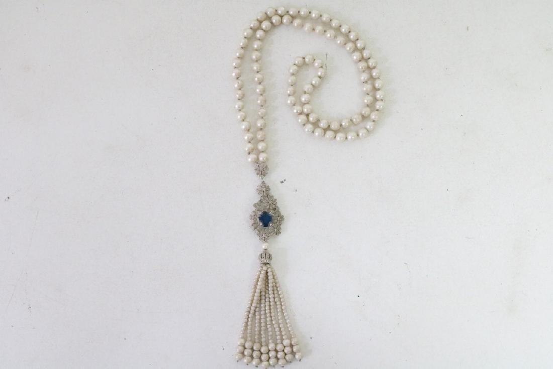 Vintage Asian Pearl and Rhinestone w/Periinkle Blue