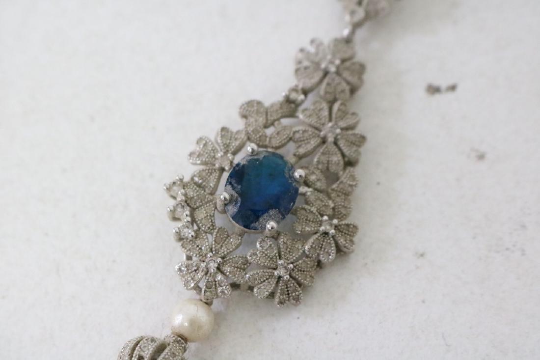 Vintage Asian Pearl and Rhinestone w/Periinkle Blue - 2