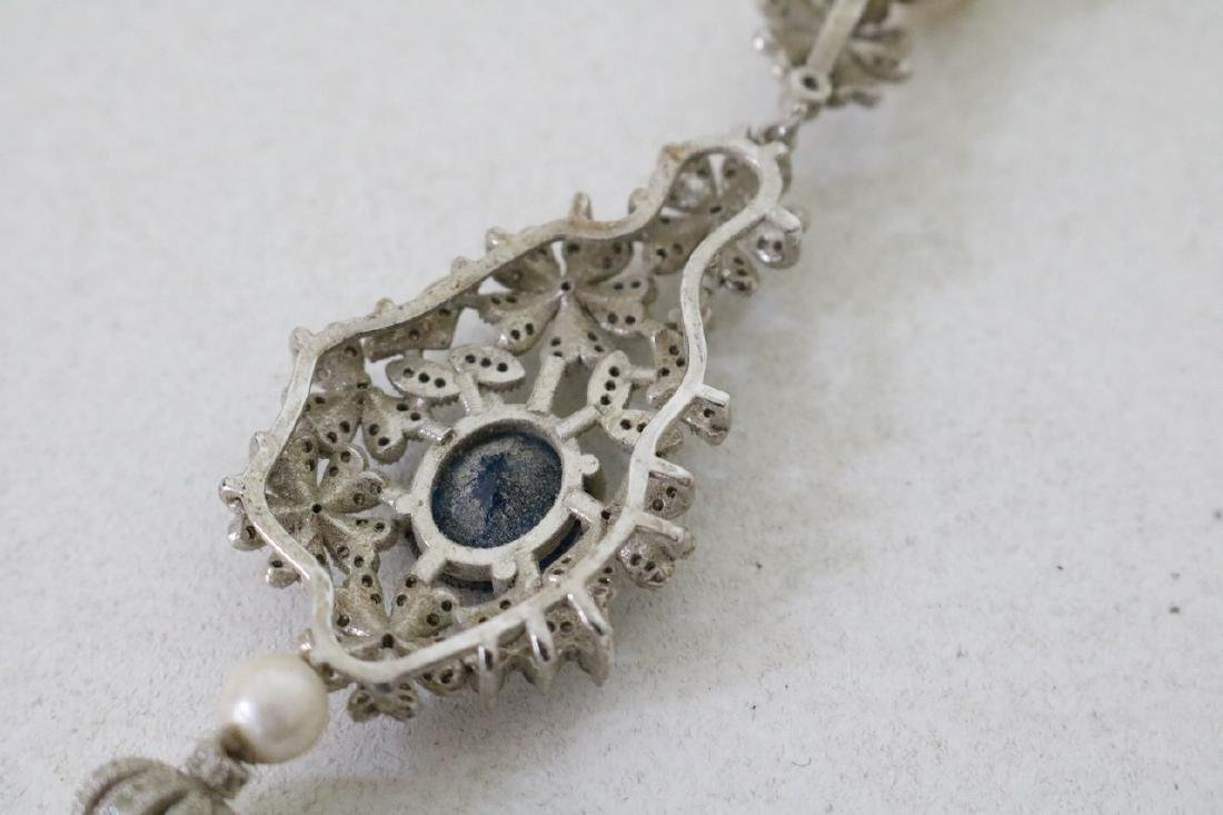 Vintage Asian Pearl and Rhinestone w/Periinkle Blue - 5
