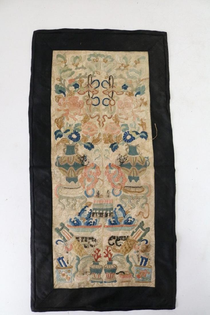 Antique Asian Embroidered Silk Panel