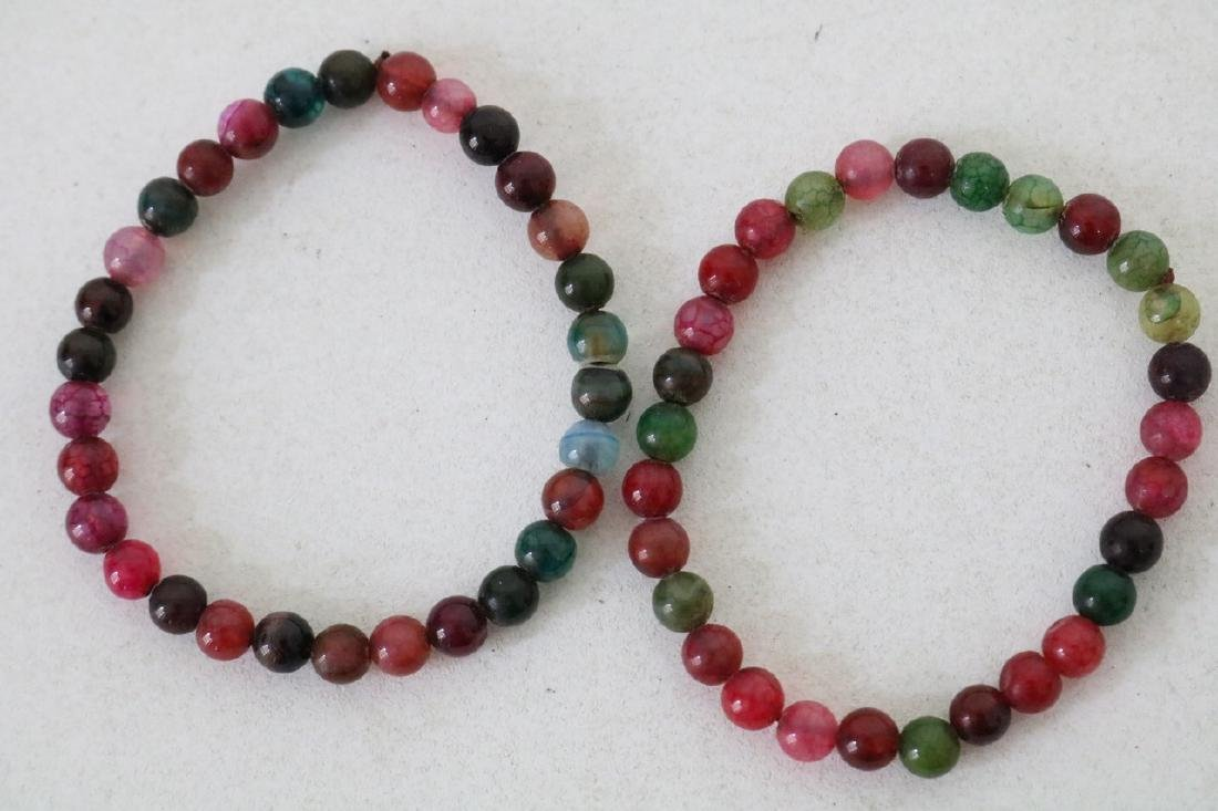 Pair of Colorful Stone Beaded Bracelets