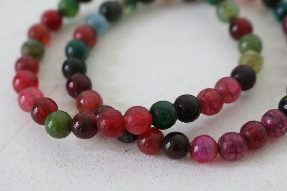 Pair of Colorful Stone Beaded Bracelets - 3