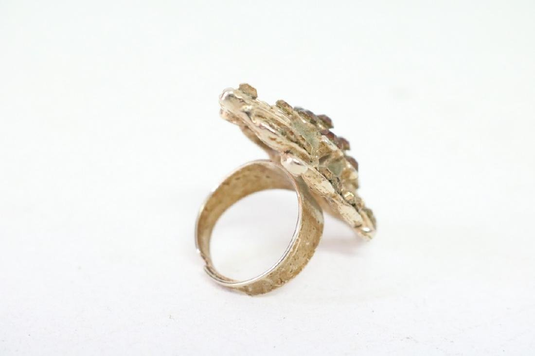 Colored Rhinestone and Gold Ring - 3