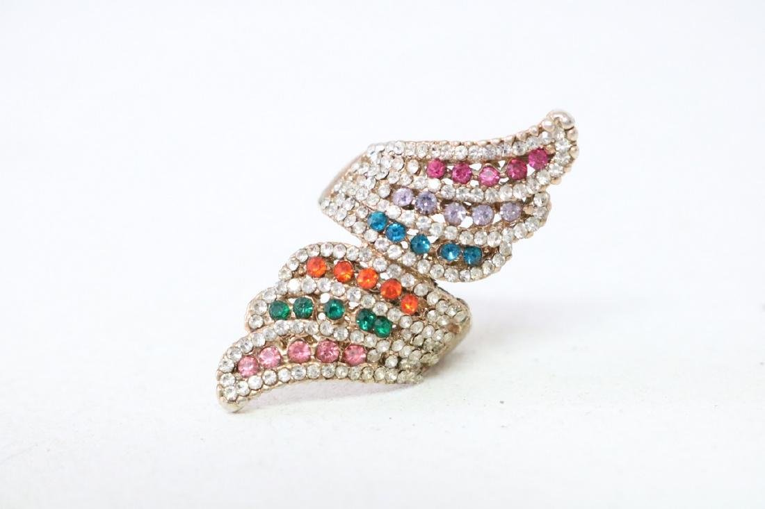 Colored Rhinestone and Gold Ring
