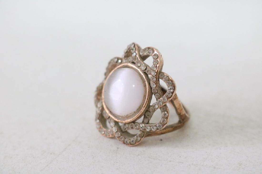 Rhinestone Gold Ring with Moonstone