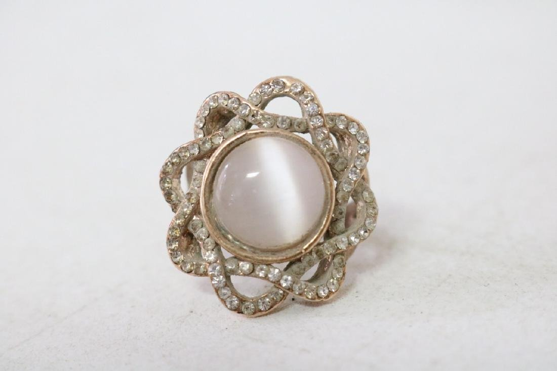 Rhinestone Gold Ring with Moonstone - 2