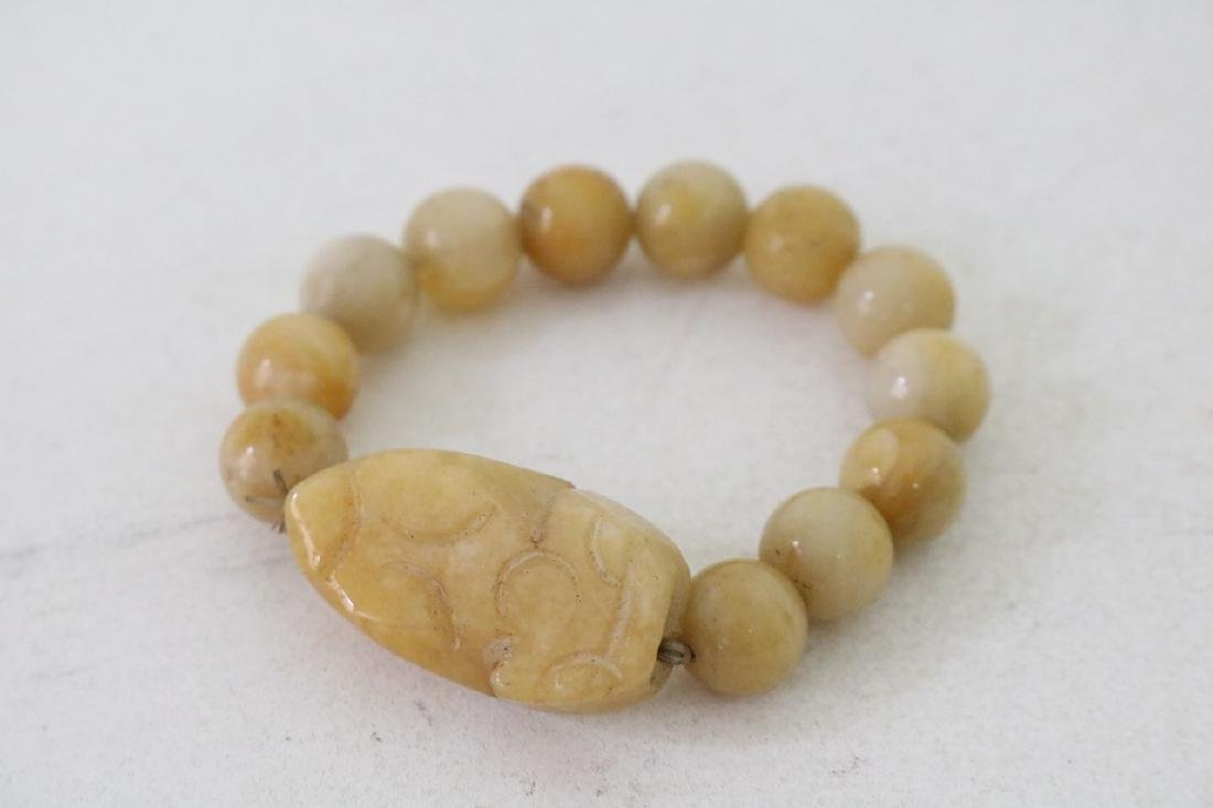 Vinate Asian Carved Yellow stone Beaded Bracelet