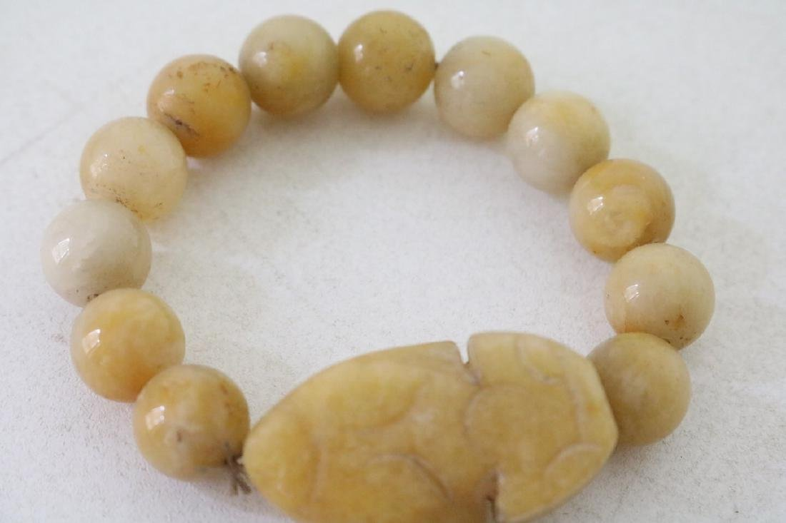 Vinate Asian Carved Yellow stone Beaded Bracelet - 2