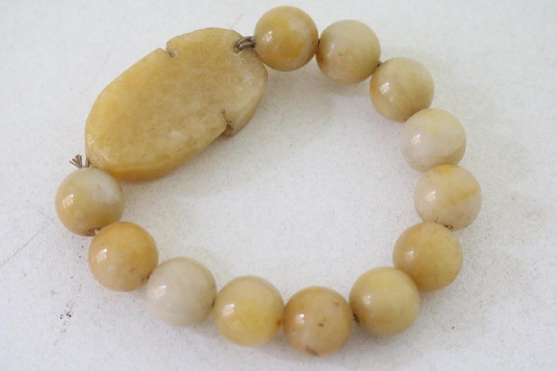 Vinate Asian Carved Yellow stone Beaded Bracelet - 3